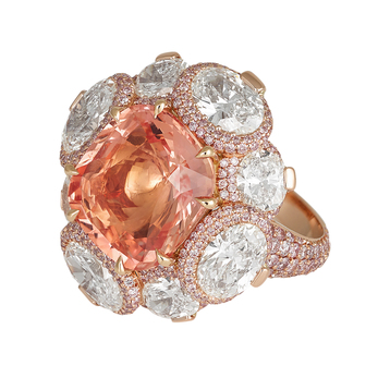 David Morris ring with paradpascha sapphire, diamonds, pink diamonds and 18k white gold