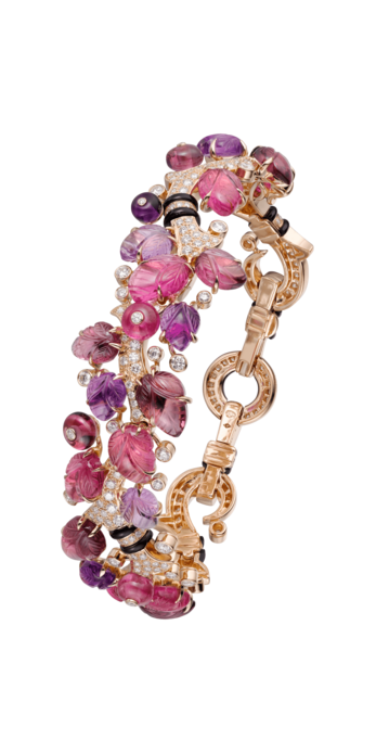 Cartier 'Pierres Gravees' bracelet with amethysts, diamonds, garnets, rubellites, onyx and 18k yellow gold