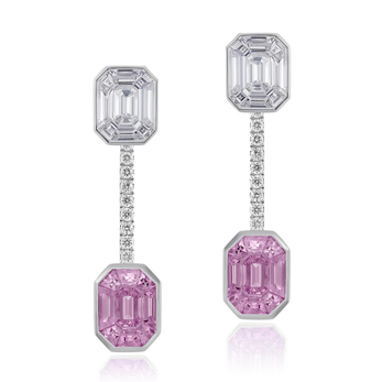 Stenzhorn 'Pantoni' pink sapphire and diamond earrings