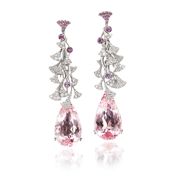 Palmiero 'Aborea' earrings in morganites, diamonds and pink sapphire