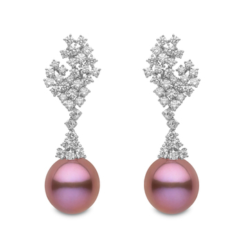 Yoko London 'Blossom' collection earrings with 4.66ct diamonds, freshwater pink pearl and 18k white gold