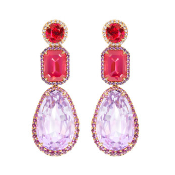 Antonio Seijo earrings with 37ct pear cut kunzite, spinels, pink sapphires, amethysts and 18K rosé gold