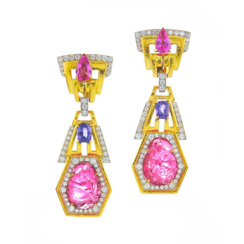 Carved tourmalines, sapphires and diamonds earrings in yellow gold from the Colors collection