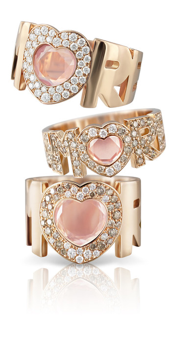 Pasquale Bruni rings with diamonds and rose quartz in rose gold