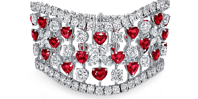 Cuff in fancy cut heart shaped rubies with marquise and brilliant cut diamonds