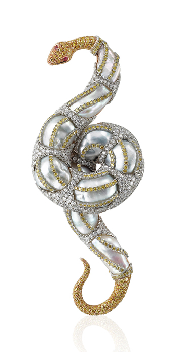 'Snake' brooch from the 'Animal' collection with baroque pearls, colourless diamonds, fancy yellow diamonds and rubies in 18k white, rose and yellow gold