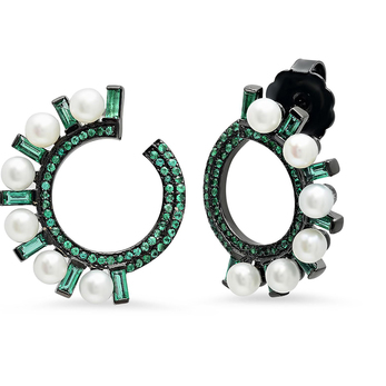 'Swirl Huggies' earrings with 1.46ct emeralds and diamonds in black gold