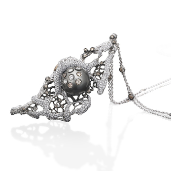 'Il Mare D'Inverno' pendant necklace with Tahitian pearl, 3.11ct colourless and brown diamonds in 18k gold