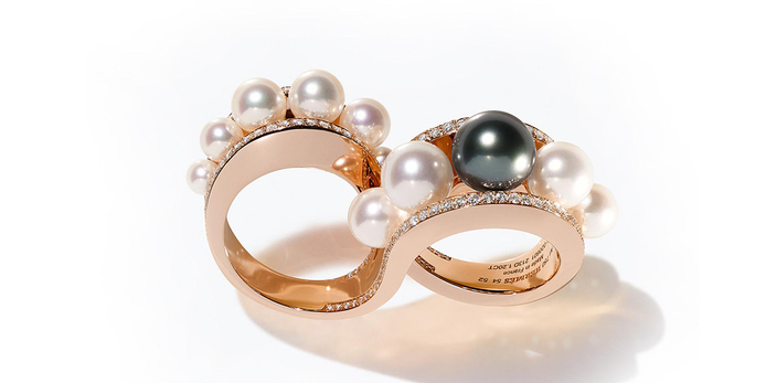 'Ombre et lumie' double ring with Tahitian and Akoya pearls and diamonds in 18k rose gold