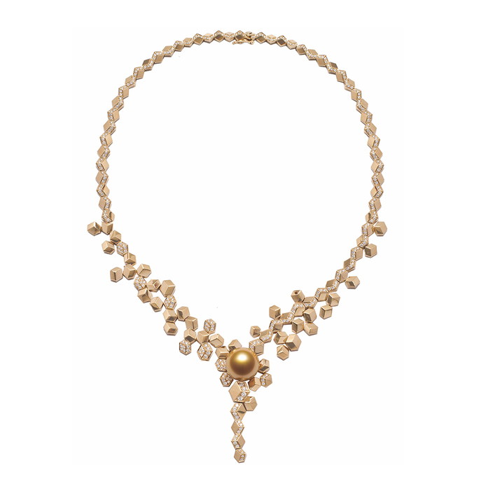 'Illusion' necklace with South Sea pearl and diamonds in 18k yellow gold