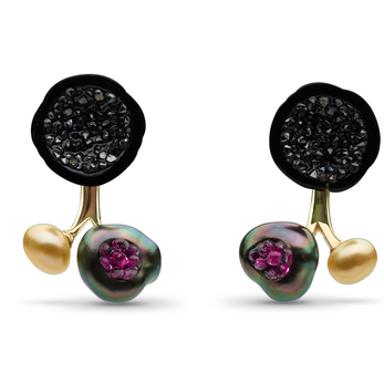 'Three pearl' earrings with Tahitian Pearl Geode and black diamonds studs, with 2 pearl jacket set with Tahitian keshi pearl, rubies and Golden South Sea keshi pearls in 14K yellow gold