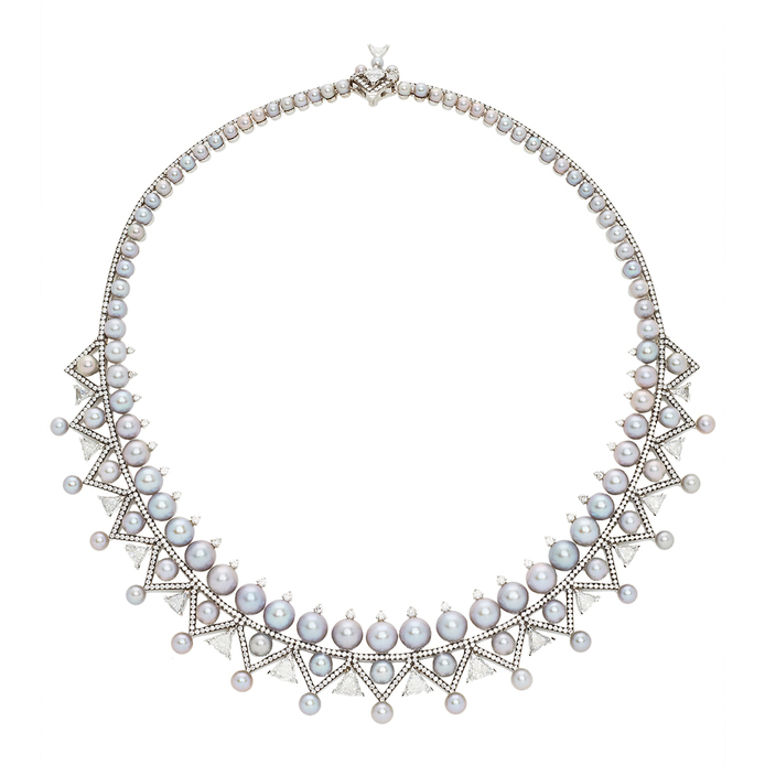 'Lingerie' necklace with white and silver pearls and diamond in 18k white gold