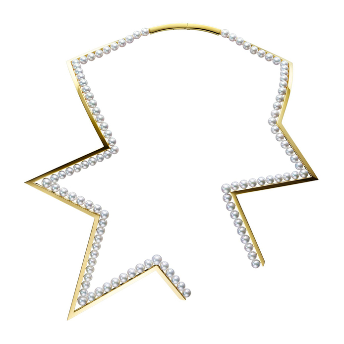 'Abstract Star' necklace in Akoya pearls and 18k yellow gold