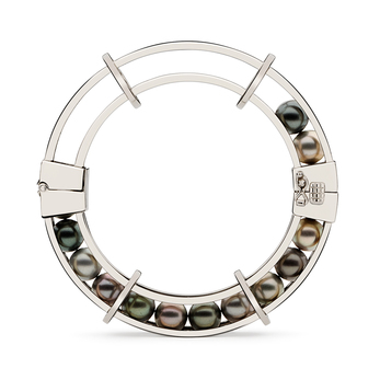 'Spinning Wheel' bracelet from the 'Perpetual Motion' collection' with Tahitian pearls and 18k white gold