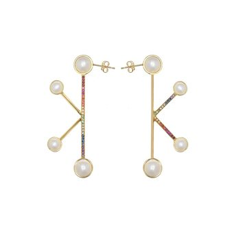 'Gemini' earrings with freshwater pearls, amethyst, aquamarine, tanzanite, ruby, and fancy sapphire in 18k yellow gold