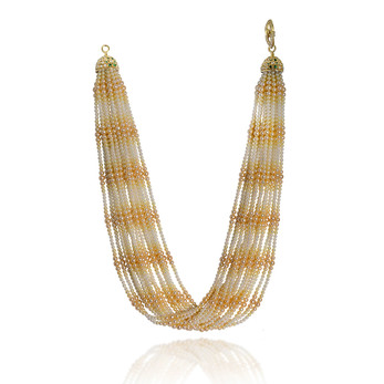 'Twist' necklace in gradating white and yellow Akoya pearls