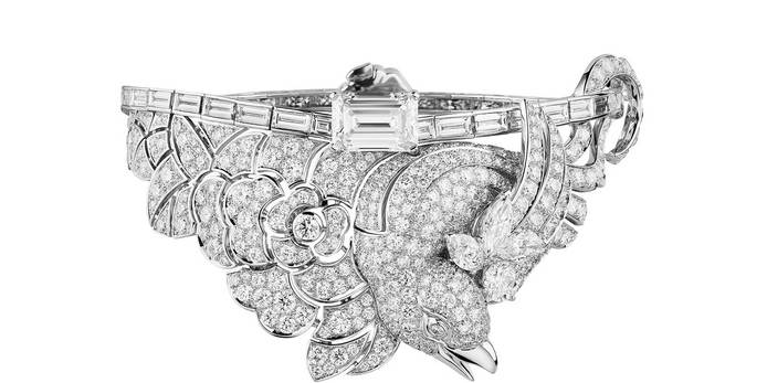 'Coromandel' bracelet from the 'Précieux Envol' collection with emerald cut and brilliant cut diamonds in 18k white gold