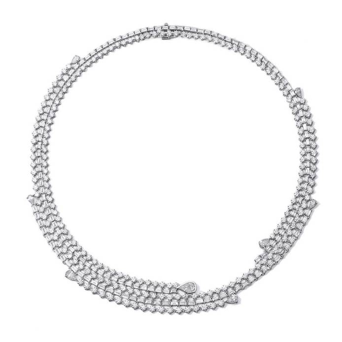 'Storm' necklace from the 'Iced Zeit' collection in baguette cut, brilliant cut and pear cut diamonds