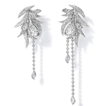 'Lueur du Jour' earrings from 'Ritz Paris' collection with pear cut, brilliant cut and marquise cut diamonds totalling 5.27ct in platinum