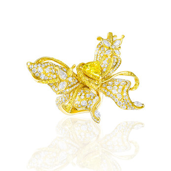 'Papillon' ring with trillion cut yellow diamond, accenting pear cut and brilliant cut colourless and yellow diamonds in titanium
