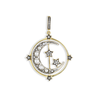 'Mythology Spinning Moon' charm with freshwater pearl and diamond in 18k yellow and white gold
