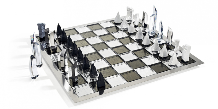 'Architecture & the city' chess set with crystal, stainless steel, concrete, aluminium, marble, eco brass and rhodium plating,  designed by Daniel Libeskind for Atelier Swarovski
