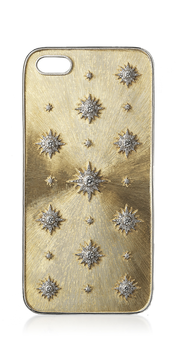 Phone case with diamonds in rigato engraved 18k yellow gold and 18k white gold
