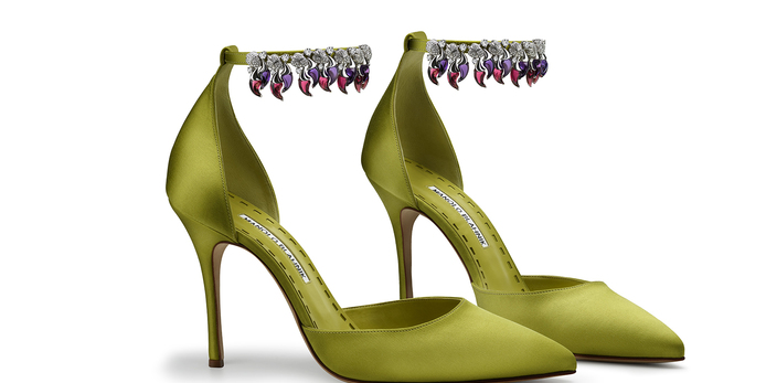 Satin shoes with rubellite and amethyst 'chilli pepper' shape stones and 11.41 carat diamonds in 18k white gold