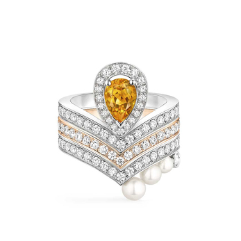 'Josephine Aigrette' ring with diamonds, 0.60ct citrine and pearls in 18k white gold