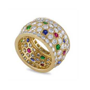 Pre-owned Cartier ring with sapphires, emeralds, rubies and diamonds in 18k yellow gold