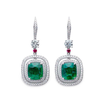 Earrings with Colombian 2.35ct and 2.14ct emeralds, accent diamonds and rubies with 18k white gold