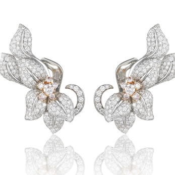 'Fleur de Lis' blush earrings with diamonds in 18k white and yellow gold