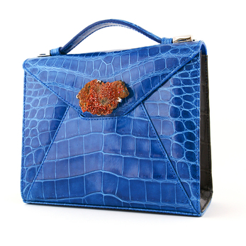'Zain' envelope handbag in blue crocodile leather with amber stone and silver plated frame