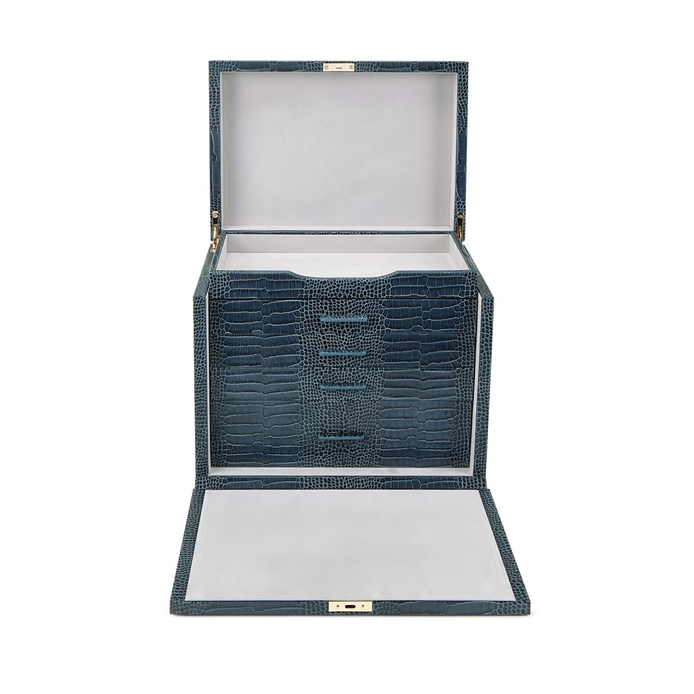 'Mara' deluxe jewellery box in navy printed calf leather