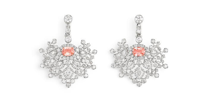 'Promenades Imperiale' earrings with 1.71ct Madagascan Padparadscha sapphire and diamonds
