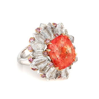 Ring with 12.30 carat Ceylon Padparadascha sapphire with diamonds and pink sapphires