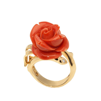 'Rose Dior' collection 'Pré Catelan' ring with coral and yellow gold