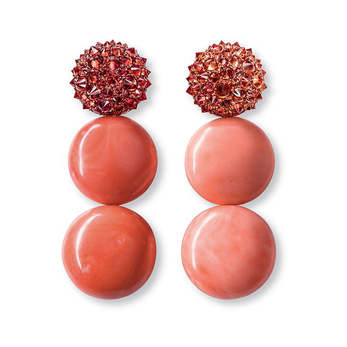 Earrings with coral and reverse set sapphires in copper courtesy of Hemmerle