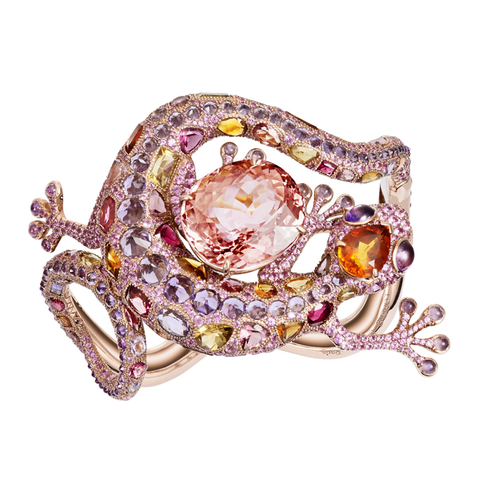 'Gecko' bracelet with 32.69ct pink tourmaline, citrine, amethyst and pink sapphire in 18k rose gold