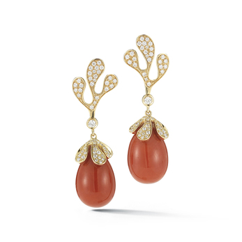 'Sea Leaf' collection earrings with coral, diamonds and 18k yellow gold