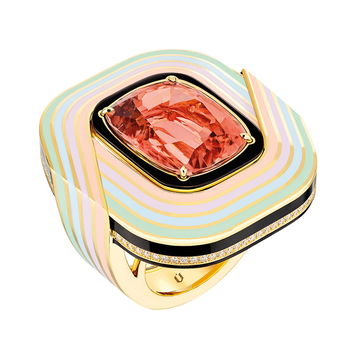 'El Hada' ring with pink tourmaline, onyx, diamonds and enamel in yellow gold