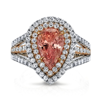Ring with pear cut 5.44ct Padparadscha sapphire and diamonds in 18k rose gold and platinum