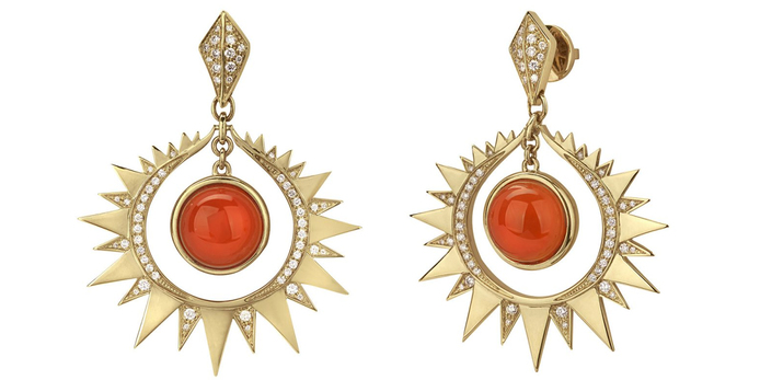 'Aruna' earrings with 9.88ct carnelians and 0.81ct diamonds in 18k yellow gold