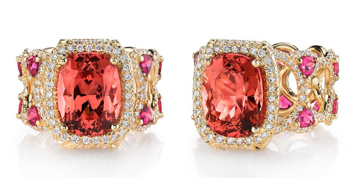 'Sayeda' ring with 5.49ct spinel, pink tourmaline and diamonds in 18k yellow gol