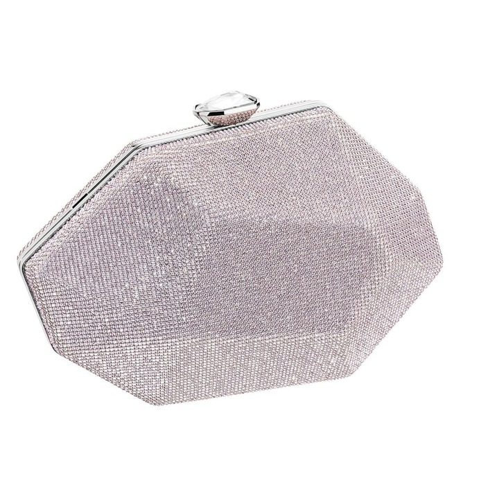 'Marina' clutch bag with amethyst tone crystal mesh and Swarovski crystal clasp closure in stainless steel