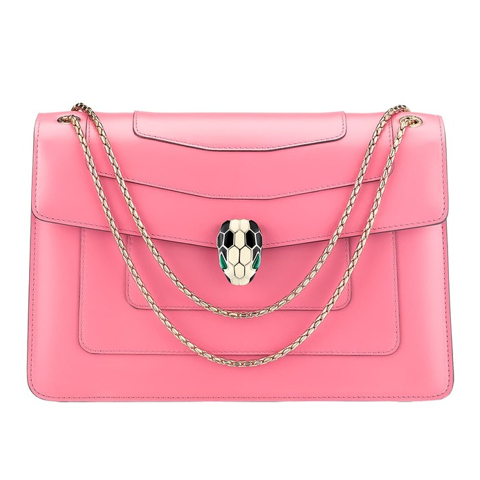 'Serpenti Forever' shoulder bag with gold plated enamel clasp in pink calf leather