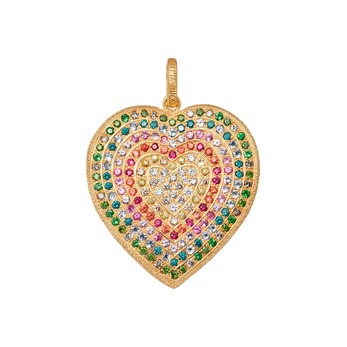 'Rainbow Pavé Heart' pendant with multicoloured sapphires in 18k rose gold