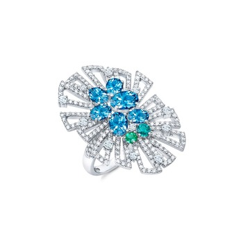 'Couture' collection ring with midnight aquamarines, Paraiba tourmalines and diamonds in 18k white gold