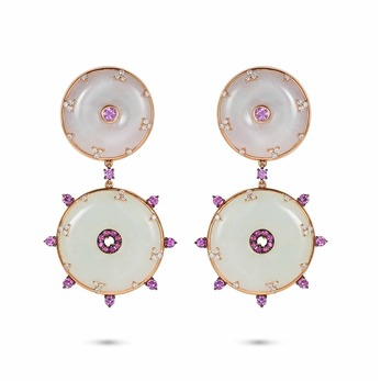 'Celeste' earrings with diamonds, pink sapphires and jade in 18k rose gold