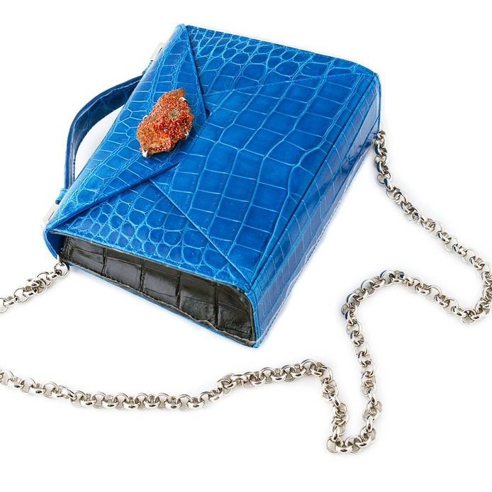 'Zain' bag with amber stone and gold plated silver frame in blue crocodile leather